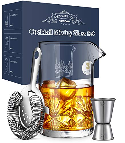 Cocktail Mixing Glass, veecom 18oz Crystal Mixing Glass Bartender Kit, 3 Piece Old Fashioned Cocktail Set with Strainer, Jigger, Bar Tools Cocktail Shaker Set, Cocktail Mixer Stirring Glass (3 Pieces)