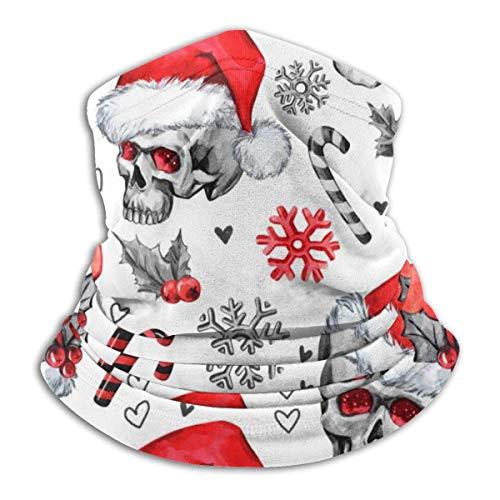 Bklzzjc Sketchy Skulls in Santa Hat Headwear Neck Gaiter Warmer Winter Ski Tube Scarf Mask Fleece Face Cover Windproof for Men Women Personalized