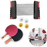 Filet de Ping Pong, Filet de Tennis de Table Rétractable de Remplacement de Filet de Tennis de Table,1 filet de tennis de table, 2 balles de ping-pong, 1 paire de raquettes de tennis de table Black