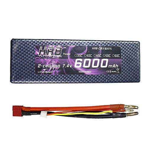 HRB 2S Batería de Lipo 7.4V 60C 120C 6000mAh Hardcase RC Battery con Dean T Style Connector para Control Remoto Radiocontrol Eléctrico Coche, Camión, Buggy, Bote, Helicóptero, Avión, Truggy