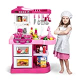 Temi Play Kitchen Playset Pretend Food - 53 PCS Pink Kitchen Toys for Toddlers, Toy Accessories Toddler Set w/ Real Sounds and Light, Toddler Outdoor Playset for Kids, Girls & Boys