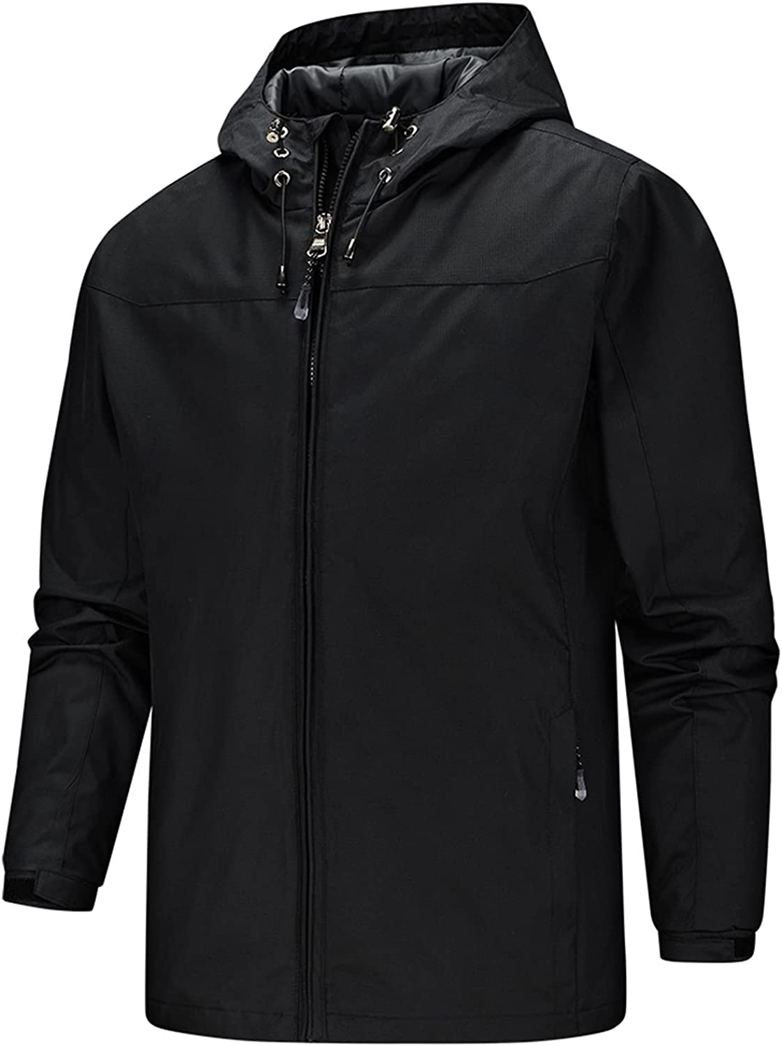 Men's Softshell Fleece Jacket Detachable Hooded Soft Shell Windproof Water Resistant Outerwear for Hiking Work Travel