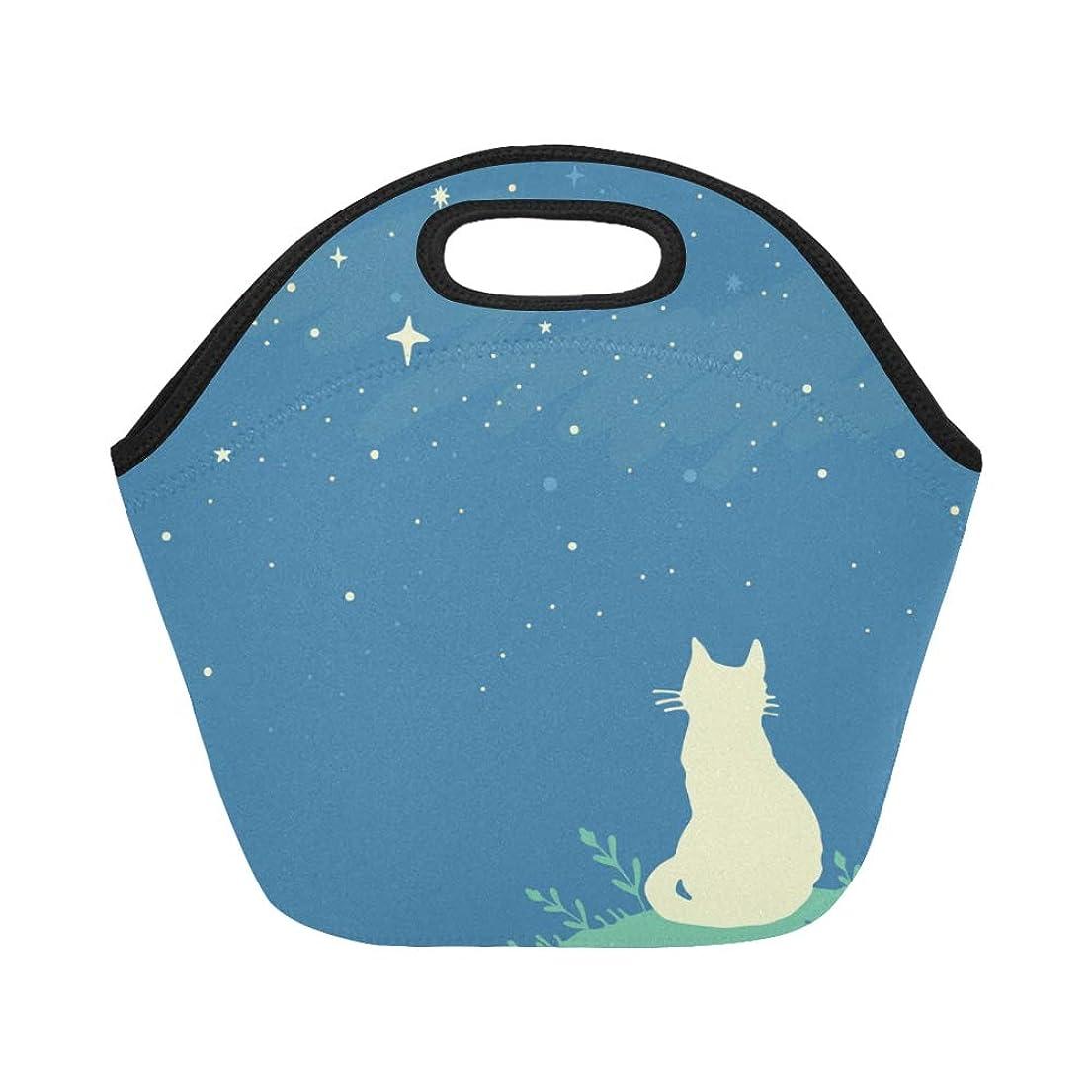 ブロー座標高度なJLDG ランチバッグ 面白い猫や星空 弁当袋 お弁当入れ 保温保冷 トート 弁当バッグ 大容量 トートバッグ
