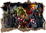 TOP PRINTS Vinilo decorativo para pared con diseño de los Vengadores de Marvel Super Heros Hulk Iron Man en 3D para ventana rota