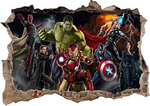 TOP PRINTS Marvel Avengers Super Heros Hulk Iron man 3D Window Smashed Wall Sticker Poster Decal Mural Bedroom Art 662 (120x85cm)