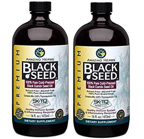 Amazing Herbs Cold-Pressed Black Seed Oil - 16oz (Pack of 2)