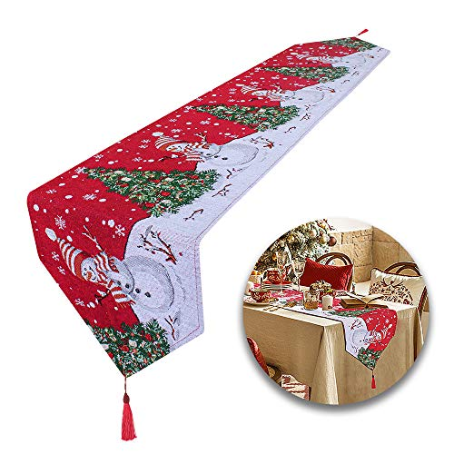 Heqishun Extra Long Christmas Table Runners Linen Table Runner for Christmas Party, Dinner and Gatherings (178 x 34cm)