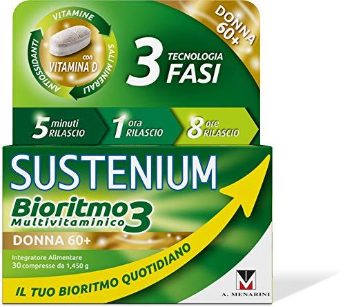 Sustenium Bioritmo3 Donna 60+ - Integratore Multivitaminico con Antiossidanti e Sali Minerali. Più di 70 Benefici per il Tuo Benessere Fisico e Mentale, 30 Compresse da 1.45 Gr