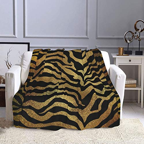 KCOUU Couverture polaire 127 x 152 cm Safari africain doré glamour peau zébrée animal noir confortable doux chaud couverture décorative pour canapé, lit, canapé, voyage, maison, bureau toutes saisons