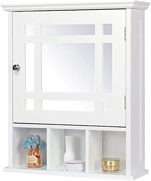 Yaheetech 镜面浴室墙壁收纳柜带可调节架子木质药品柜白色