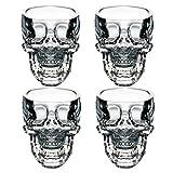 EASYTAR Cristal 3D Skull Pirate Shot Verre  cocktail bire tasse Coupe , Lot de 4