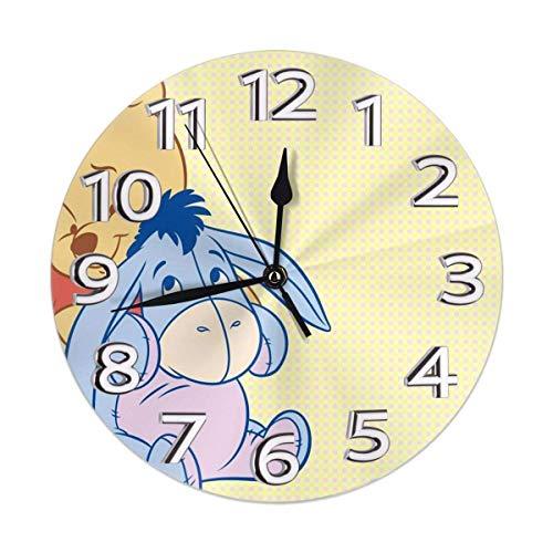 yongxing Reloj de pared decorativo Pooh reloj digital silencioso sin tic-tac con batería redonda