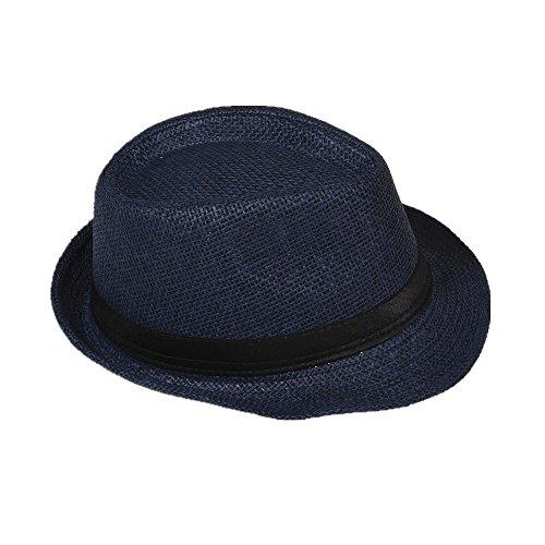 Strohhut Panama Fedora Trilby Gangster Hut Sonnenhut mit Stoffband Farbe:-Dunkelblau (Strohhut) Gr:-58