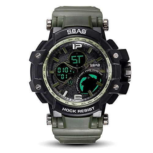 HWCOO SBAO Uhren Sportuhr Herrenuhr elektronische Dual-Display wasserdichte Uhr stoßfest Uhr (Color : 7)