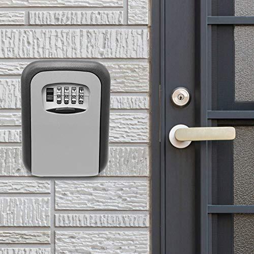 Key BoxKey - Caja de bloqueo de 4 dígitos con combinación de bloqueo de pared, caja de seguridad para llaves de seguridad, apto para uso doméstico (tamaño: 115 x 90 x 40 mm, color: gris)