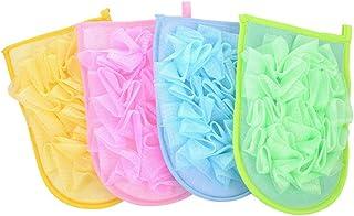 TOPBATHY 4本入浴ウォッシュタオル剥離バスグローブバックスクラバーデュアルサイドバスタオル入浴用シャワースパ(混色)