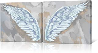 HOMEOART Angel Wings Home Decor White Wing of Angel Modern Canvas Painting Giclee Art Prints Stretched Framed Artwork Bedroom Living Room Decor 16