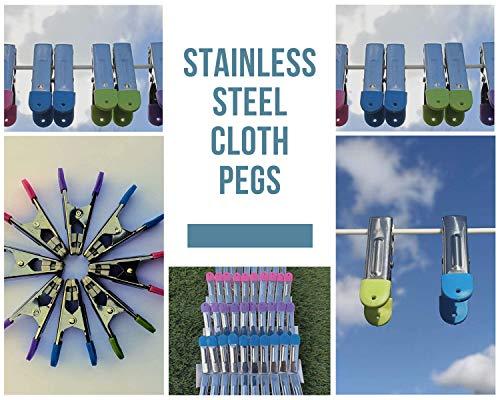 buyelegant Prime - 80 Wäscheklammern aus Edelstahl Halt, Soft Grip mit Kunststoff-Pads zu vermeiden Flecken