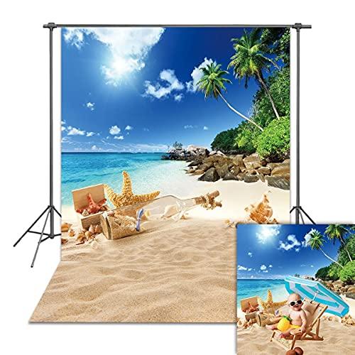 DANIU Letnia tropikalna plaża nadmorskie tło Hawaje wyspa palmy tło fotograficzne dla dzieci portret sesja zdjęciowa dekoracje budka fotograficzna rekwizyty do studia (5 x 7 stóp (2,1 m x 1,5 m)
