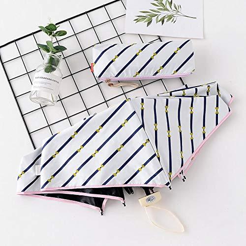 MVBGLK Zwart plastic zonnescherm kleine frisse vijf voudige paraplu platte kleine parasol paraplu 50cm*6k 7-2 meters white diagonal stripes