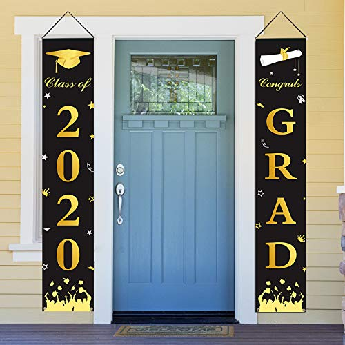 Dazonge Graduation Decorations 2020 | Congrats Grad & Class of 2020 Porch Sign Banners | Graduation Party Supplies for Indoor and Outdoor