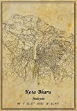 Malaysia Kota Bharu Landkarte, Wandkunst, Poster,