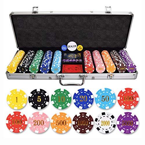 Bueuwe Poker Chip Set 300 Stück Casino Striped Chips 12G Composite Chips Mit Aluminiumetui/Spielkarten/Dealer/Tischdecke Für Texas Hold'em Blackjack Gambling,B