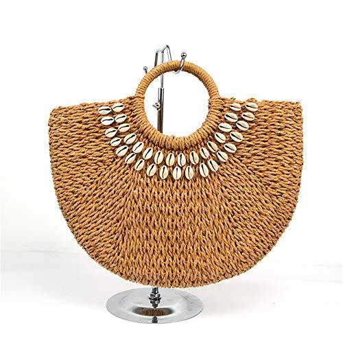 CuteLife Strohsack Papier Seil Allgleiches Art und Weise Retro tragbare Strandtasche Shell...