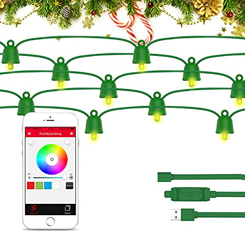 PLAYBULB 33 Foot / 10 Meter Waterproof Smart Led String Lights, Color Changing LED Lighting Chains Control via Smartphone App, USB/Battery Powered Xmas, Wedding