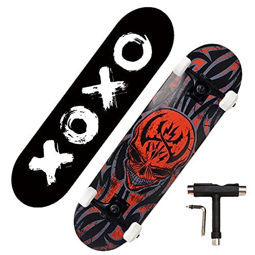 Swing around Ahorn Skateboard Erwachsene Sieben-Schicht-Ahorn-Highwheel-Vierräder-Tiefdruck-Doppel-Neigung Skateboard Erwachsene Anfänger Kinder Skateboard,Skull,80cm/39in