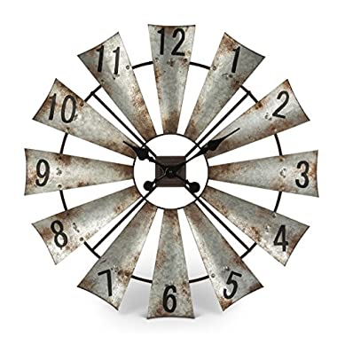 The Gerson Company Rustic Metal Round Windmill Wall Clock 30""