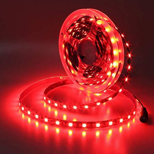 JOYLIT 24V Ruban à LED Rouge 620-625nm, 5 Mètres Flexible 300 LEDs 5050 SMD IP20 Non Étanche Bande LED