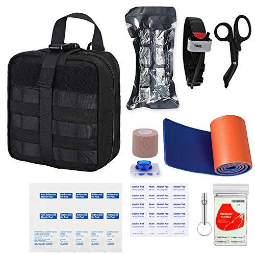 GRULLIN Survival Erste-Hilfe-Sets 39 Stück Tragbare israelische Bandage Tourniquet Splint Rolle EMT-Schere Survival Bag, praktische professionelle Erste-Hilfe-Sets für Outdoor, Raum, Auto(Black)