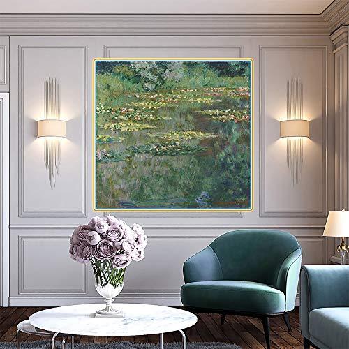 FANYUEART Claude Monet 《der Seerosenteich》 Leinwand Wandkunst Ölgemälde Berühmte Bilder Moderne Wanddekorationen für Schlafzimmer Dekor 90x90cm 36'x36 (Rahmenlos)