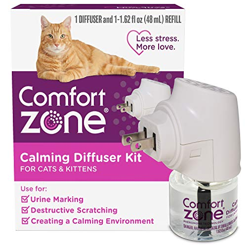 Comfort Zone Cat Calming Diffuser Reduces Anxiety, Scratching, Spraying and Hiding, Vet Recommended to De-Stress your Cat, 1 Diffuser and 1 Refill (48ml)