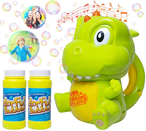 Fullsexy Bubble Machine, Automatic Durable Dinosaur Bubble Maker 1000+ Bubbles per Minute, Bubbles Blaster for Kids ToddlersBoys Girls Outdoor( with 2 Bottle 4oz Bubble Solution)