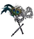 Coxeer Masquerade Mask on Stick Black Halloween Costume Metal Mask for Women
