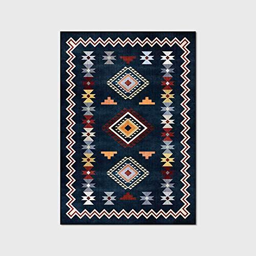 WIVION Retro Teppich Einfache Geometrie Home Teppich Dunkelblau Böhmen Teppiche Große Lernbodenmatte Für Wohnzimmer Schlafzimmer Küche Nachttisch,60x180cm(24x71inch)