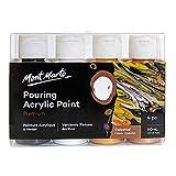 Mont Marte Colori Acrilici Pouring Set Celeste – 4 Pezzi x 60ml – Pitture Acriliche premiscelate con Medium per Acrilico – Lampade Nero, Bianco di Titanio, Oro, Bronzo
