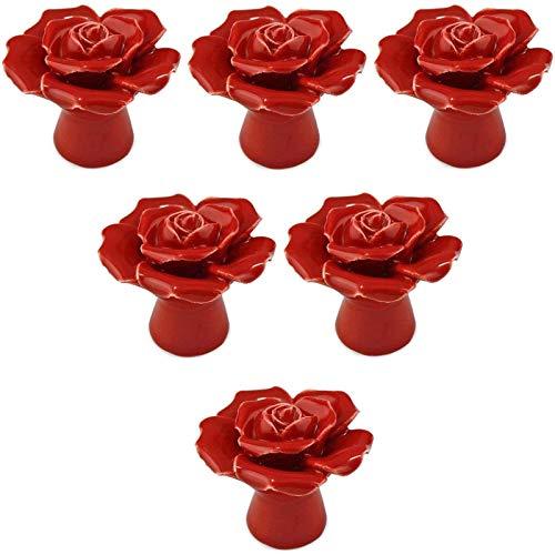 GJNVBDZSF 6 szt. ręcznie robiona róża design vintage ceramiczna gałka do szafki szuflada uchwyt używany do szafki, szuflady, komoda - biała