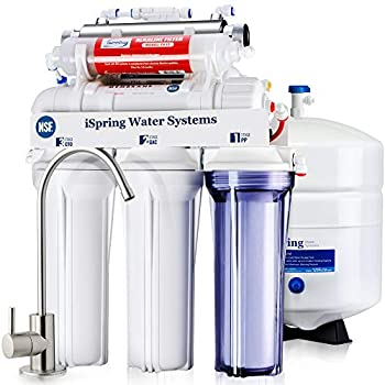 iSpring RCC7AK-UV NSF Certified 75GPD 7-Stage Under Sink Reverse Osmosis RO Drinking Water Filtration System with Alkaline Remineralization Filter and UV Ultraviolet Filter