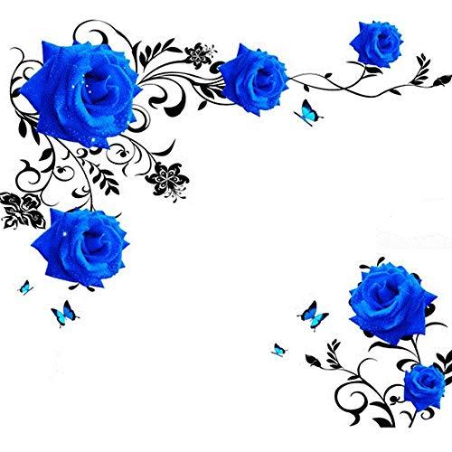 Elebeauty Bleu Rose Créatif Stickers Muraux Enfant Autocollants Décoratifs Muraux Décor pour Chambre à Coucher Amovible Stickers Muraux Vinyle Salon Maison