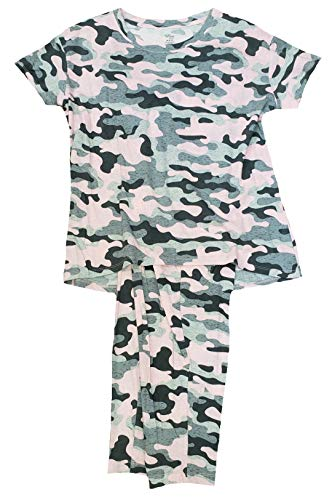 Camo Completely Pink Tee & Capri Knit Pajama Sleep Set - 3XL
