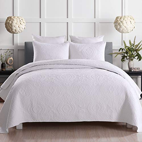 Topmail Tagesdecke Baumwolle Weiß Bettüberwurf Patchwork inkl. 1 Steppdecke 230 x 250 cm +2 Kissenbezug 50 x 70cm Atmungsaktive Gesteppte Decke (Weiß 230 x 250cm)