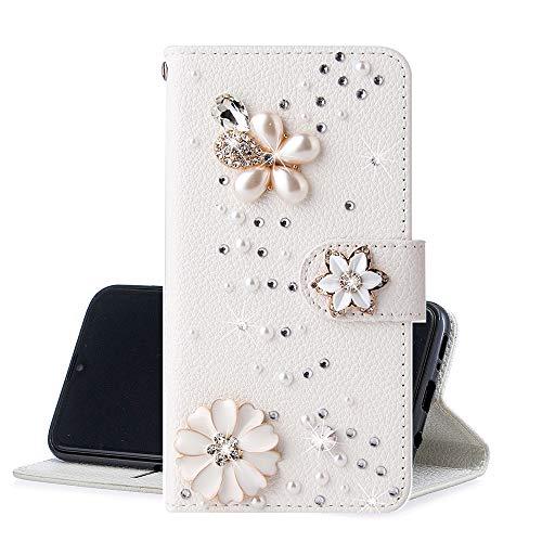 QC-EMART Glitzer Hülle kompatibel mit Samsung Galaxy A11 Handyhülle Flip Case Glänzend Diamant Blumen Leder Brieftasche Magnetisch Klapphülle mit Kartenfächer für Samsung Galaxy A11 Kamelie