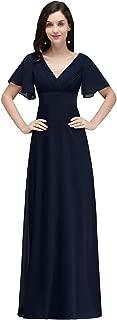 Womens Cap Short Sleeve V-Neck Bridesmaid Dress Formal Evening Gown