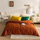 MICBRIDAL Solid Color Caramel Duvet Cover Soft 100% Cotton Reversible Caramel Bedding Set with 1 Green Pillowcase and 1 Yellow Pillowcase Modern Caramel Queen Comforter Set for Women Men