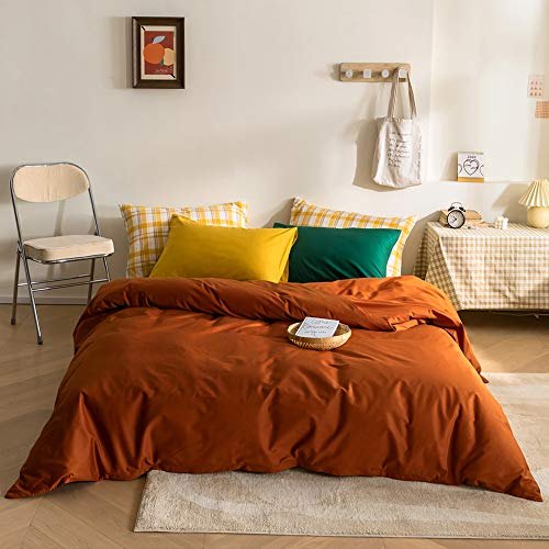 MICBRIDAL 3 Pieces Solid Color Cotton Duvet Cover Set(1 Caramel Duvet Cover + 1 Green Pillowcase + 1 Yellow Pillowcase) Modern Caramel Color Bedding Set with Zipper Closure Queen Size for Women Men
