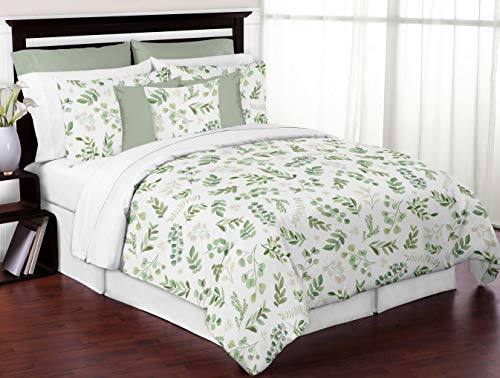 Sweet Jojo Designs Floral Leaf Girl Full/Queen Bedding Comforter Set Kids Childrens Size - 3 Pieces - Green and White Boho Watercolor Botanical Woodland Tropical Garden