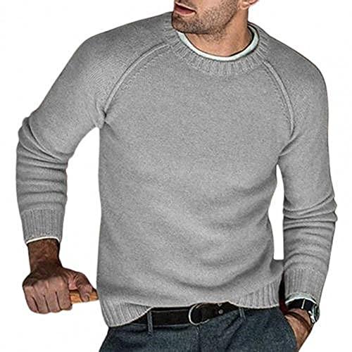 N\P Suéteres de los hombres de manga larga cuello de color sólido Jumper otoño invierno punto